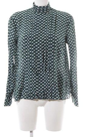 by Malene Birger Langarm-Bluse dunkelgrün-weiß Motivdruck Business-Look
