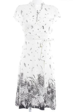 by Malene Birger Midikleid wollweiß-schwarz florales Muster Elegant