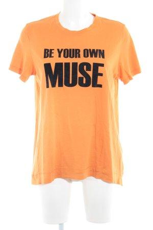 by Malene Birger T-Shirt neonorange-schwarz Schriftzug gedruckt Casual-Look