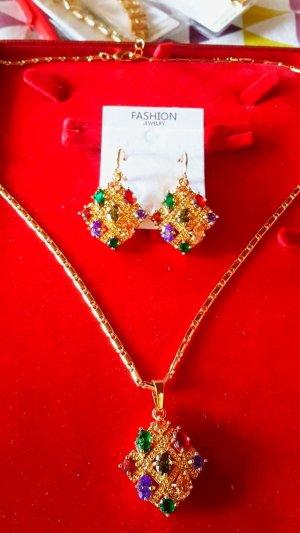 byzantinischen Schmuck-Sets für Frauen Goldfarbe Luxus Verziert Zirkonia quadratische Ohrringe Halsketten-Satz