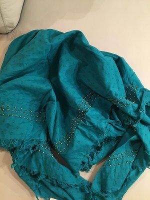 C&A Halstuch, Tuch grün mit aufgenähten Perlen, NEU und ungetragen