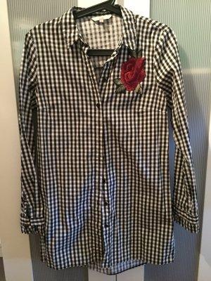 C&A Kleid Bluse schwarz weiß kariert 38 Rose Stickerei