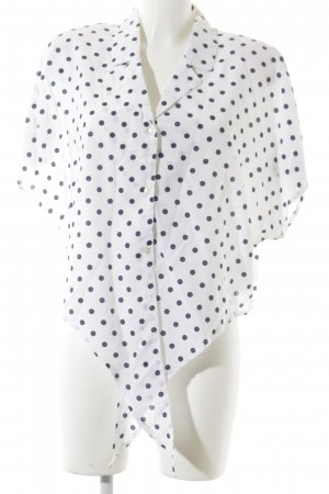 C&A Kurzarm-Bluse dunkelblau-weiß Punktemuster