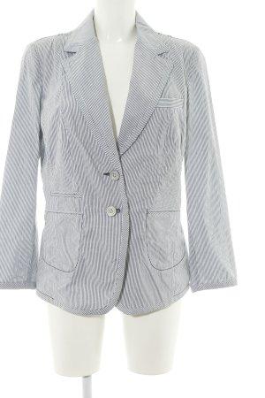 c.a.r.o. Long-Blazer blau-weiß Streifenmuster Casual-Look