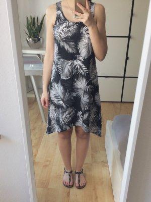C&A Strandkleid Shirtkleid Kleid asymmetrisch schwarz weiß Gr. XS Palmenprint
