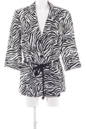 C&A Woll-Blazer schwarz-weiß Animalmuster Casual-Look
