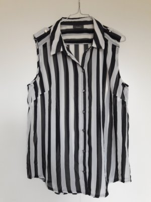 C&A Yessica ärmellose Bluse Streifen schwarz weiß Gr. ca. 38/40