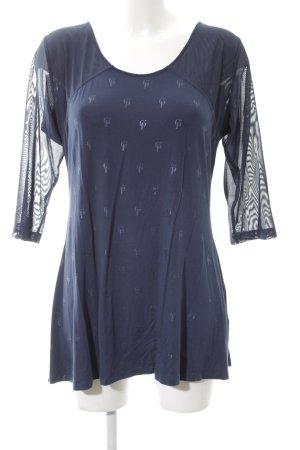 C'est Paris Rundhalspullover blau Allover-Druck Casual-Look