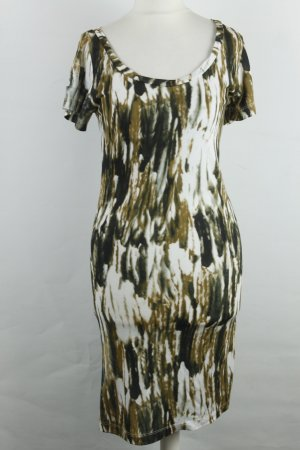 C'est Tout Kleid Midikleid Kurzarmkleid Gr. S schwarz weiß ocker NEU