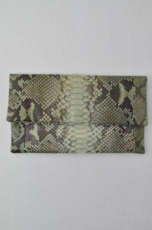 C'IVETTE Clutch Tasche Mod.Twiggy Abendtasche Petrol Leder Reptil-Optik 27x16,5