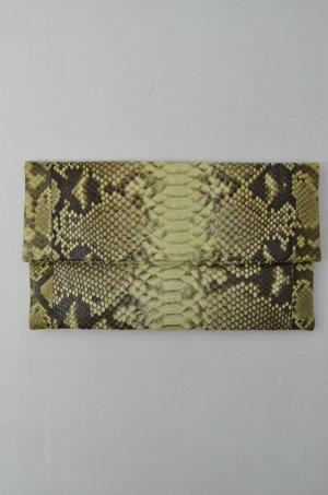 C'IVETTE Clutch Tasche Mod.Twiggy Abendtasche Yellow Leder Reptil-Optik 27x16,5