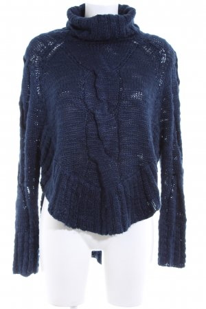 C / Meo Collective Turtleneck Sweater blue cable stitch casual look