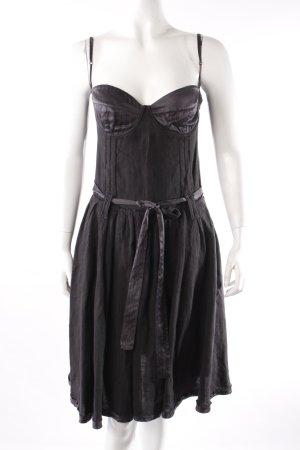 Costume National Vestido bustier negro Lino