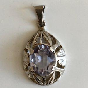 ca 1900 Antik Jugendstil Silber Anhänger 835er Silber Amethyst hell edelstein geschliffen facettiert