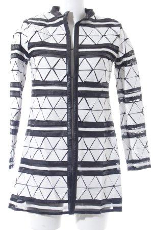 Caban Romantic Cardigan schwarz-weiß Ethnomuster extravaganter Stil