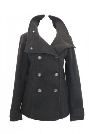 H&M Heavy Pea Coat black