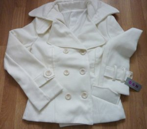 Heavy Pea Coat white-natural white polyester