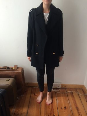 Zara Pea Jacket black-dark blue mixture fibre