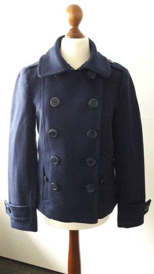 Cabanjacke Wolle Winter dunkelblau
