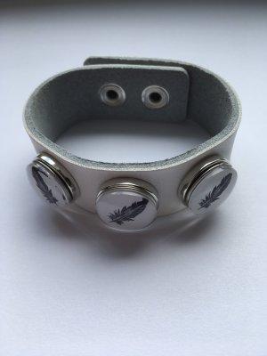 Lederen armband wit-zwart