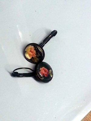 Bungeloorbellen zwart-rood Glas