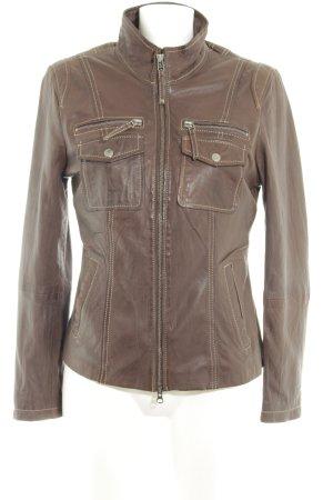 Cabrini Leather Jacket dark brown casual look