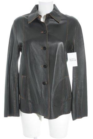 Cabrini Leather Jacket black brown-cognac-coloured animal pattern elegant