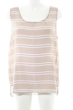 Cacharel ärmellose Bluse weiß-graubraun Streifenmuster Transparenz-Optik