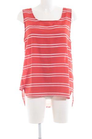 Cacharel ärmellose Bluse weiß-rot Streifenmuster Transparenz-Optik