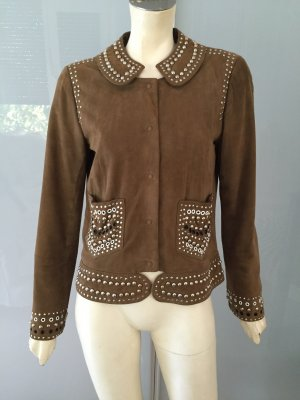 CACHAREL Lederjacke Braun 36 Wildleder Nieten Jacke Suede Leather Jacket S TOP