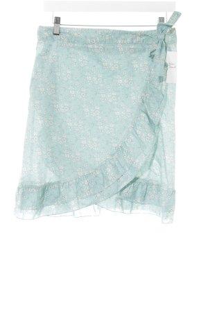 Cacharel Minirock hellblau-weiß Blumenmuster Romantik-Look