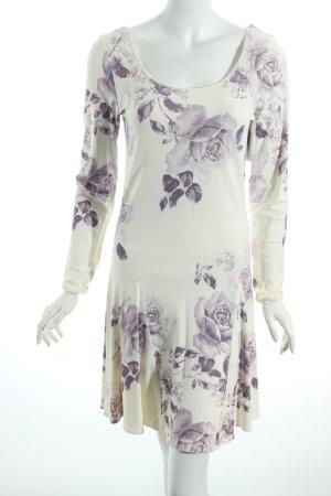 Cache Langarmkleid wollweiß-blasslila florales Muster Romantik-Look