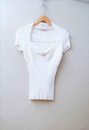 CACHÉ - Stretch Ripp-Shirt mit Strassbrosche