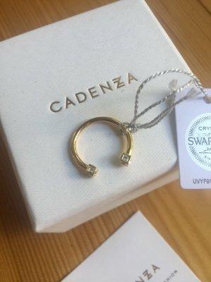 Cadenzza vergoldeter Ring Fingerspitzenring NEU mit Swarovski