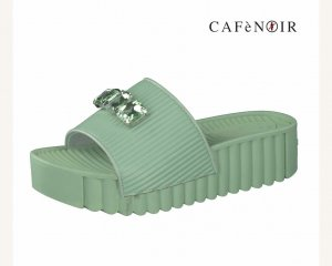 Café Noir Mules sage green synthetic material