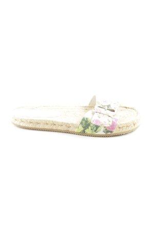 Café Noir Beach Sandals cream-natural white flower pattern casual look