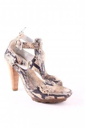 Café Noir T-Strap Sandals oatmeal-black animal pattern reptile print