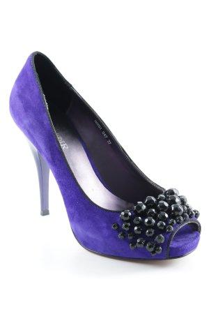 Cafènoir Escarpins à bout ouvert violet foncé-noir élégant