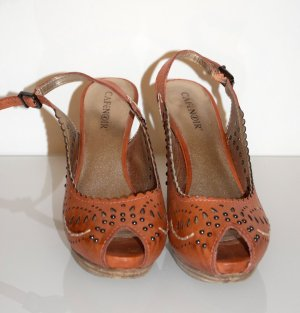 CafèNoiR, Slingback Sandaletten, Korall-Farben mit Nieten Größe 39 / Echtes Leder