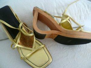 CALA / made in ITALY - PLATEAU LEDER/HOLZ Sandalette -2x getragen Gr.36