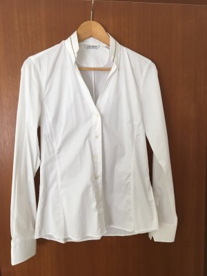 Caliban Stand-Up Collar Blouse white