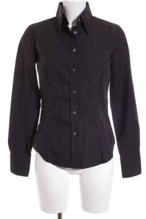 Caliban Hemd-Bluse dunkelblau-roségoldfarben abstraktes Muster klassischer Stil