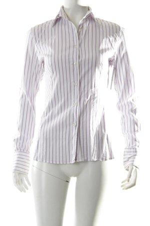 Caliban Hemd-Bluse weiß-flieder Streifenmuster klassischer Stil