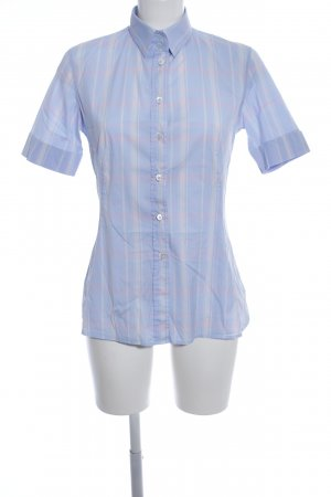 Caliban Short Sleeved Blouse blue check pattern business style