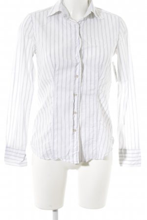 Caliban Long Sleeve Blouse white-light grey striped pattern simple style