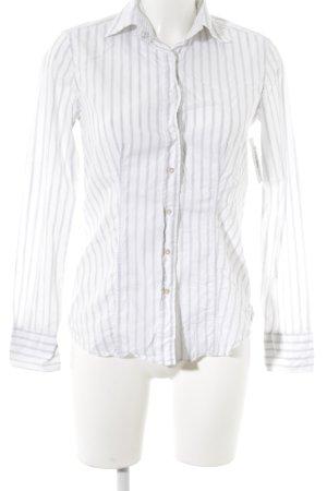 Caliban Langarm-Bluse weiß-hellgrau Streifenmuster schlichter Stil