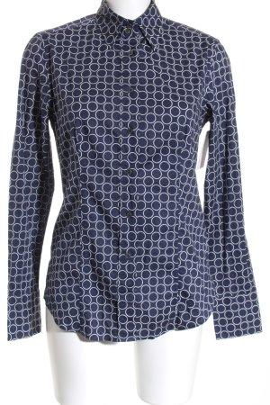 Caliban Langarmhemd dunkelblau-weiß Punktemuster Casual-Look