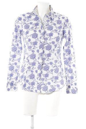 Caliban Langarmhemd weiß-dunkelblau Blumenmuster Business-Look