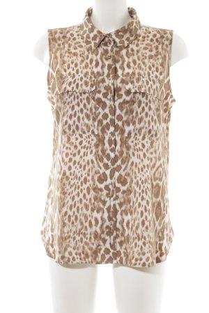 Calvin Klein ärmellose Bluse hellbraun-weiß abstraktes Muster Elegant