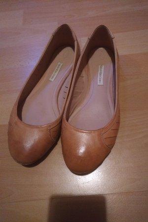 Calvin Klein Jeans Peep Toe ballerina's zandig bruin